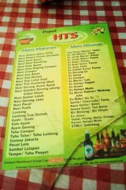 Dept HTS - daftar menu
