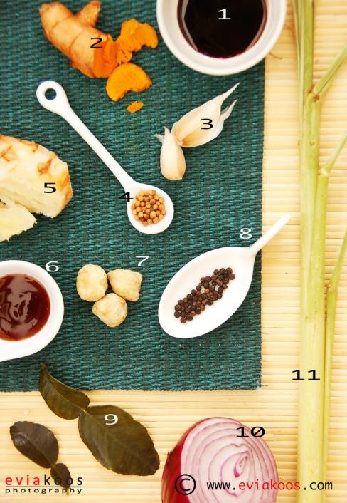 Bumbu mie ayam jamur 1.Kecap manis; 2.Kunyit; 3.Bawang putih; 4.Ketumbar; 5.Lengkuas; 6.Saus tiram; 7.Kemiri; 8.Lada hitam; 9.Daun jeruk purut; 10.Bawang bombay merah; 11.Sereh.