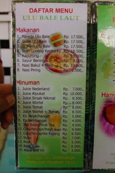 5. Daftar menu Ulu Bale Laut.