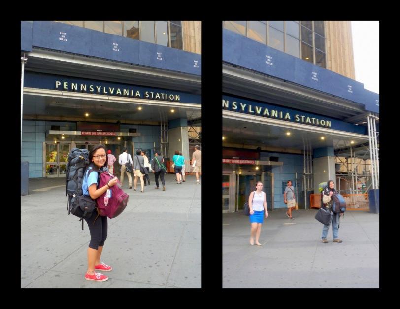 Di depan pintu masuk Penn station.
