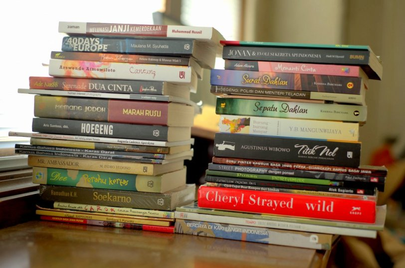 Ada 37 biji buku. Belum termasuk beberapa yang ditinggal di Surabaya karena sedang dibaca ibu.